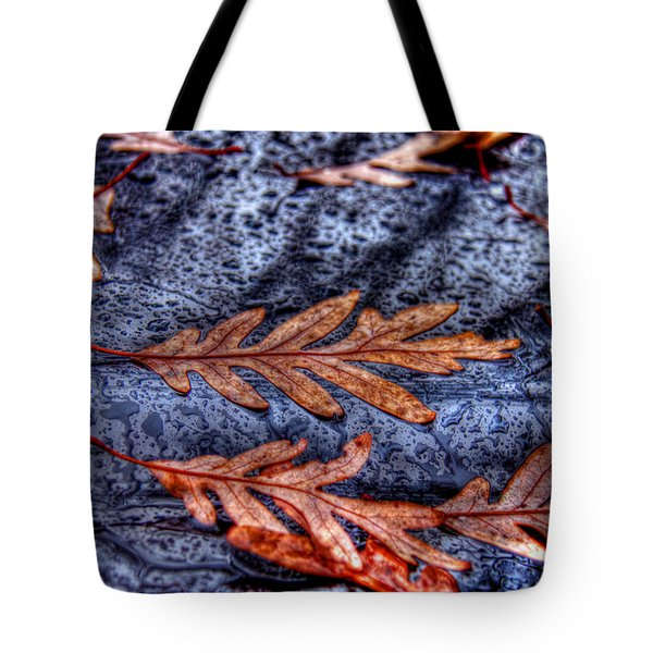 Wet Leaves And Raindrops 01 Tote Bag by Andy Lawless