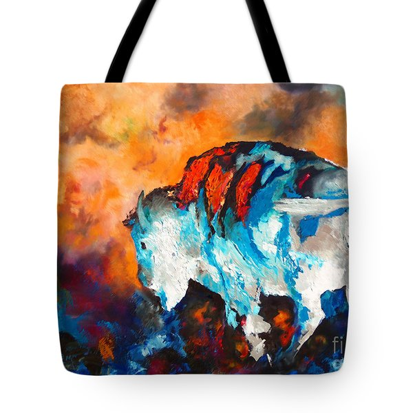 Tote Bag featuring the painting White Buffalo Ghost by Karen Kennedy Chatham