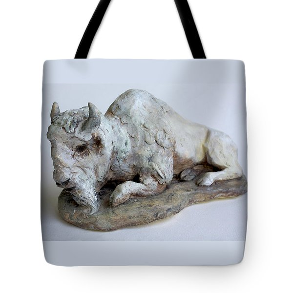 White Buffalo-sculpture Tote Bag by Derrick Higgins