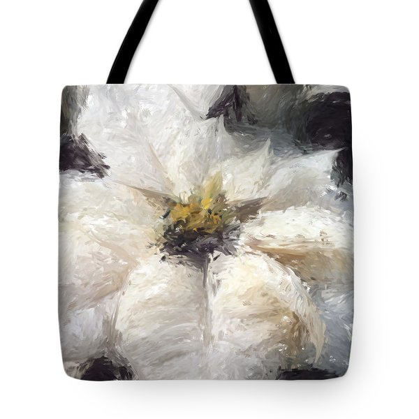 Tote Bag featuring the painting White Poinsettias Christmas Card by Jennifer Hotai