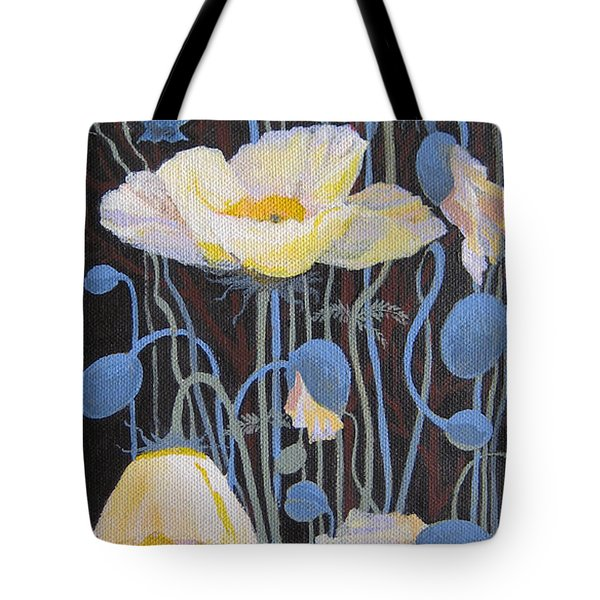 White Poppies Tote Bag by Marina Gnetetsky