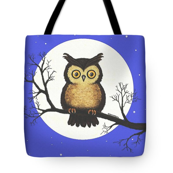 Tote Bag featuring the painting Whooo You Lookin' At by Sophia Schmierer