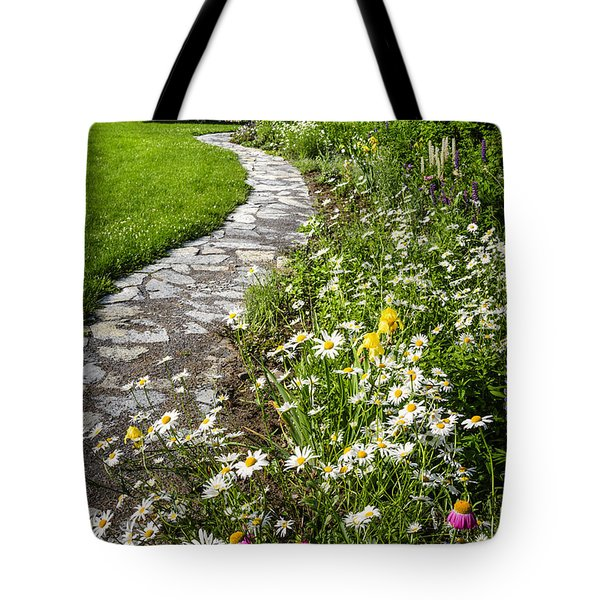 Wildflower Garden And Path To Gazebo Tote Bag by Elena Elisseeva
