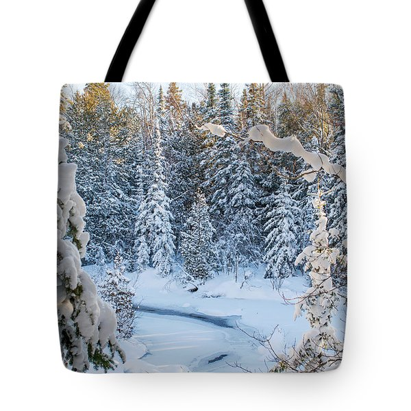 Winter At Grand Marais Creek Tote Bag