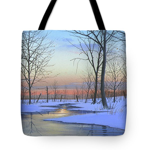 Tote Bag featuring the painting Winter Calm by Mike Brown