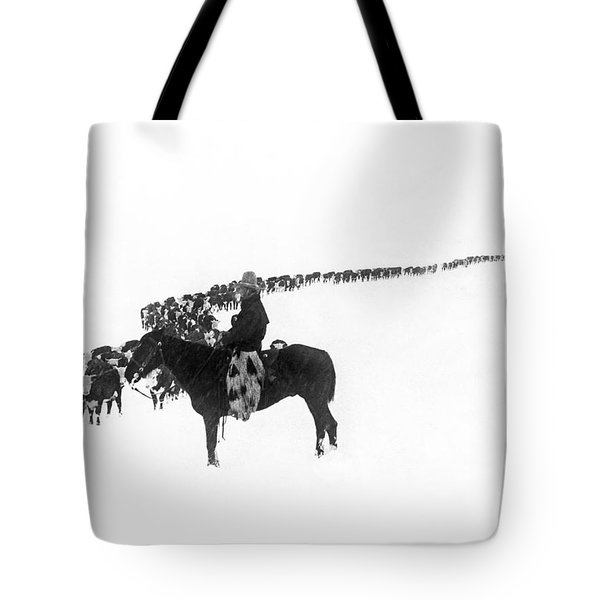 Wintertime Cattle Drive Tote Bag