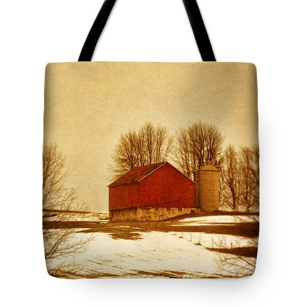 Wisconsin Barn In Winter Tote Bag by Jill Battaglia