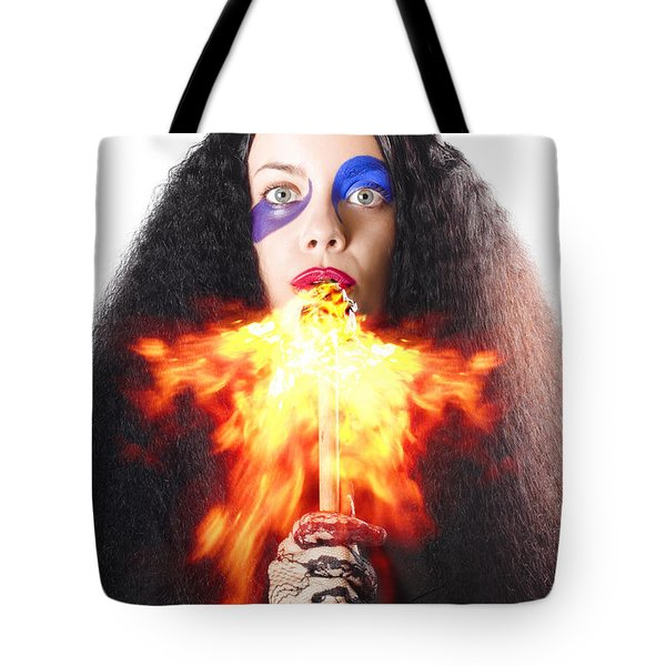 Woman Breathing Fire From Mouth Tote Bag