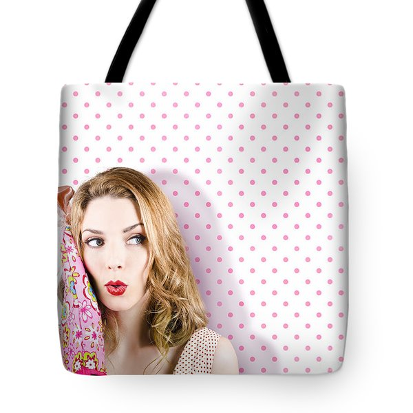 Woman Cook Looking To Menu And Recipe Copy Space Tote Bag