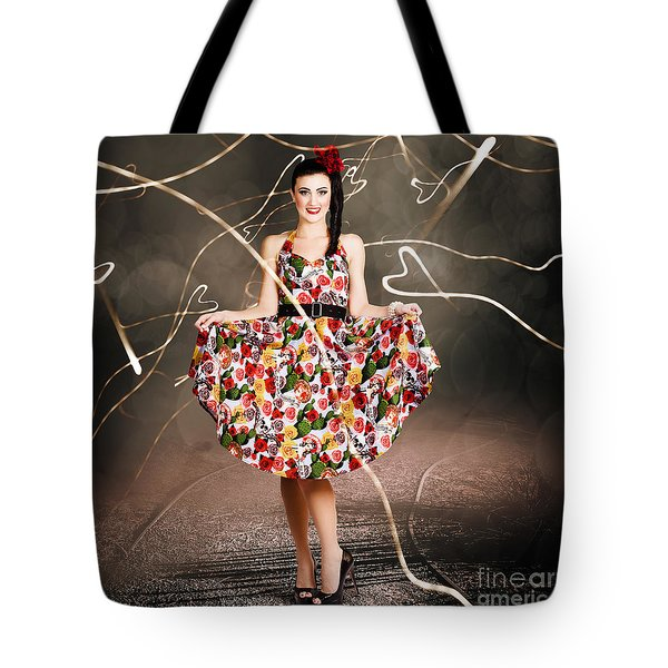 Woman Dancing In Colorful Floral Dress Outdoor Tote Bag