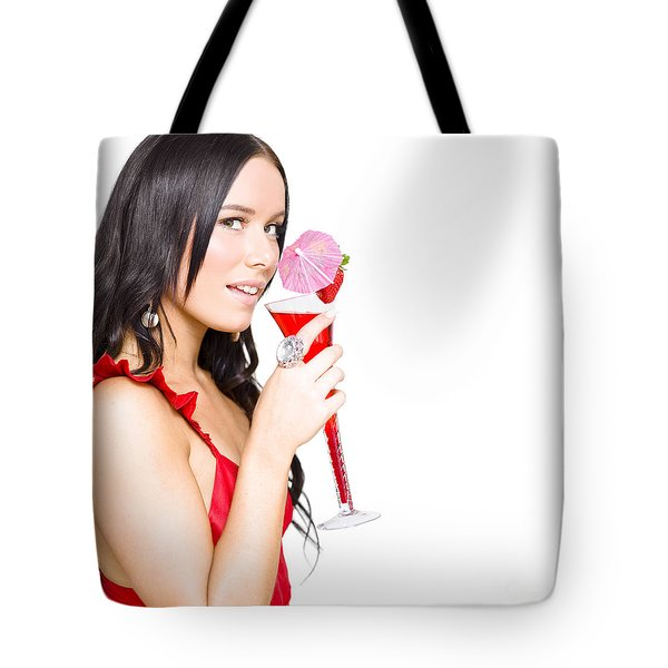 Woman Drinking Alcohol Drink At Christmas Party Tote Bag