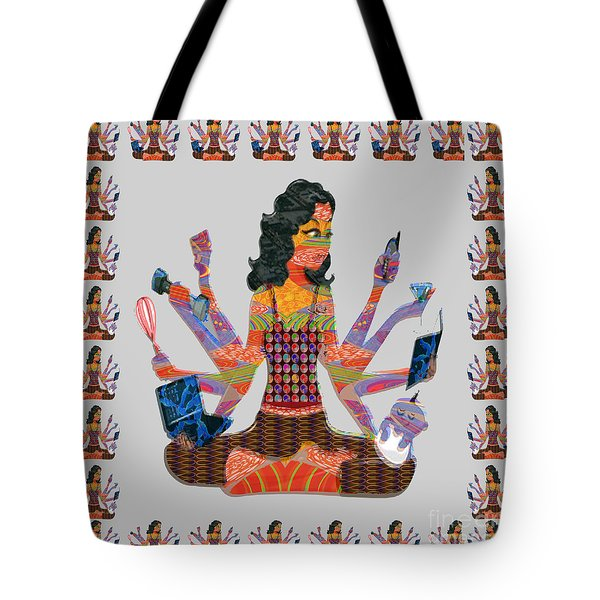 Modern Woman Female Spiritual Inspiration Multitasking Leadership Goddess Background Designs   Tote Bag