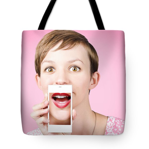 Woman Gossiping To Friends On Phone Video Chat  Tote Bag