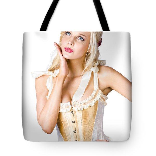 Woman In Corset Dress Tote Bag