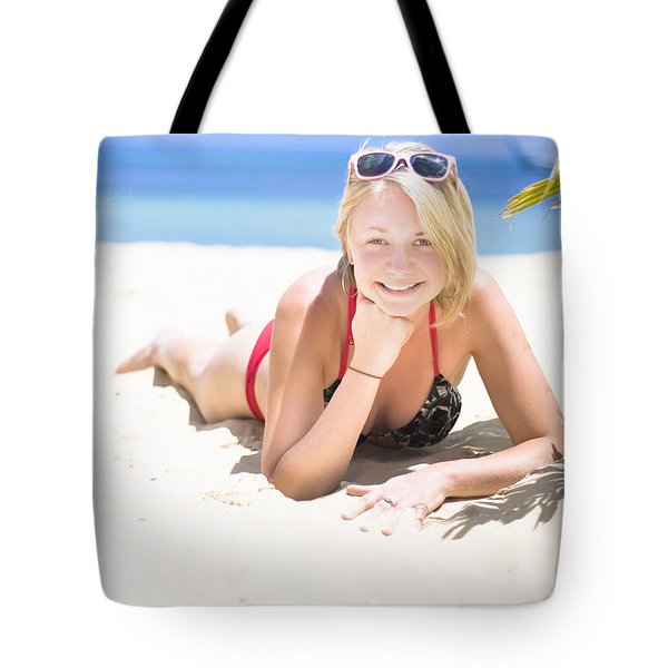 Woman On A Happy And Relaxing Holiday Break Tote Bag