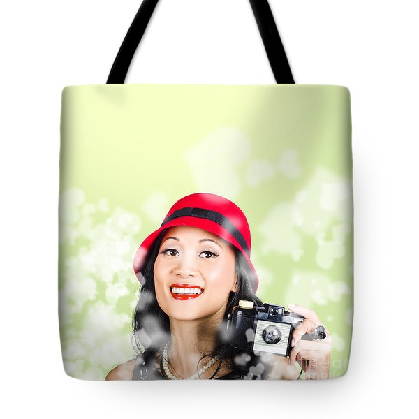 Woman Taking Photographs With Vintage Camera Tote Bag