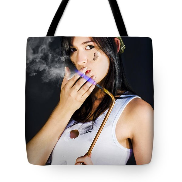Woman Welding Smoking Cigarette Tote Bag