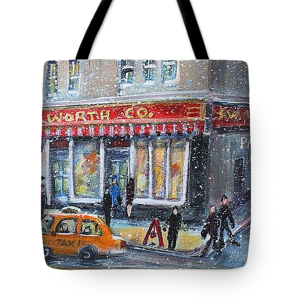 Tote Bag featuring the painting Woolworth's Holiday Shopping by Rita Brown