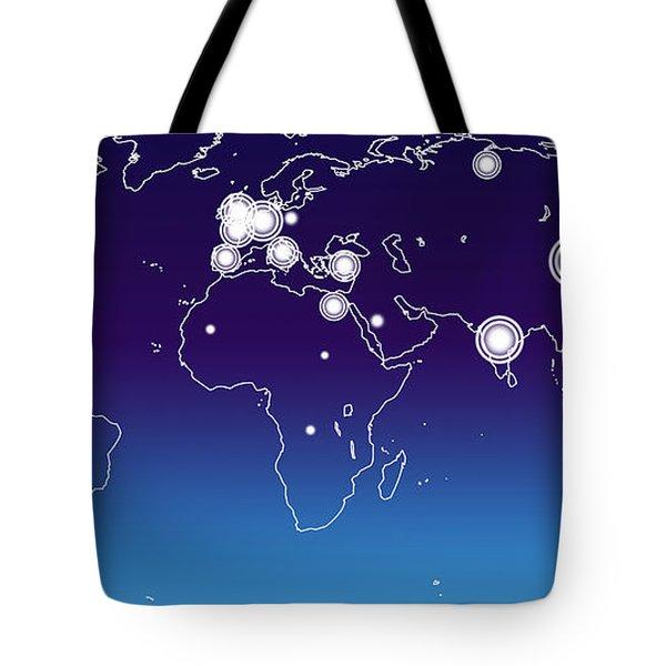 World Economies Map Tote Bag by Atiketta Sangasaeng
