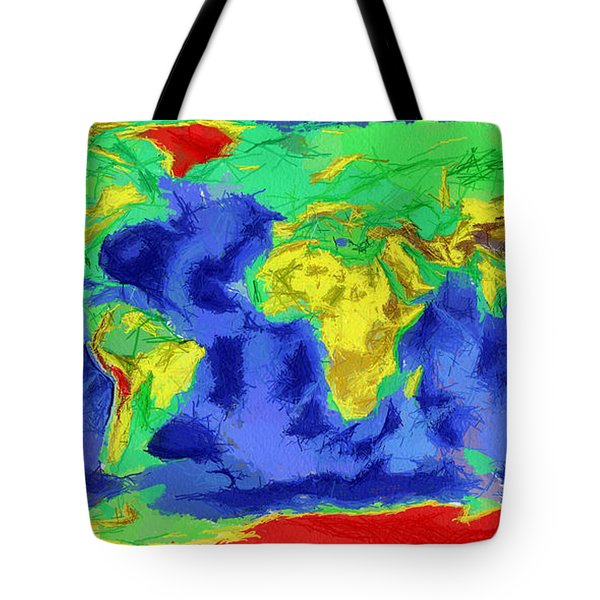 World Map Art Tote Bag by Georgi Dimitrov