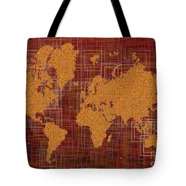 World Map Rettangoli In Orange Red And Brown Tote Bag by Eleven Corners