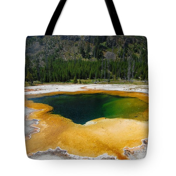 Yellowstone Emerald Pool Tote Bag by Debra Thompson