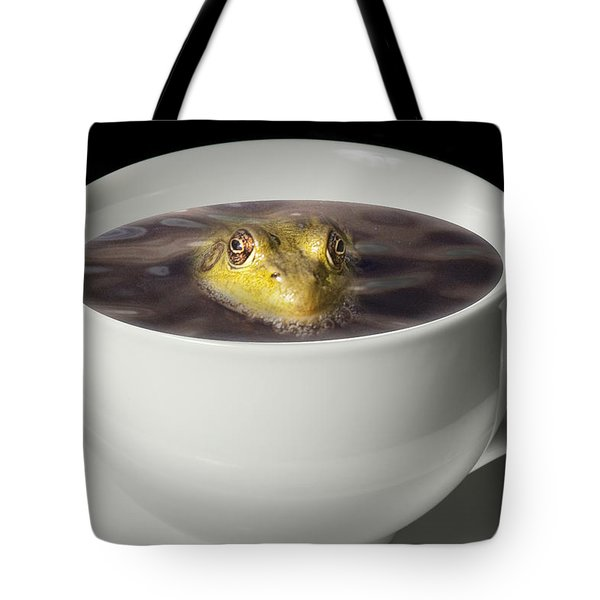 Yikes There Is A Frog In My Java Tote Bag by Randall Nyhof