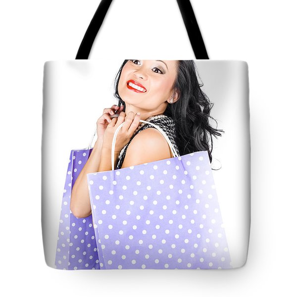 Young Chinese Woman Walking With Shopping Bags Tote Bag