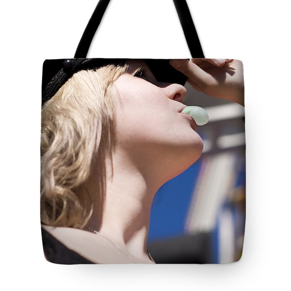 Young Lady Looking Up Tote Bag
