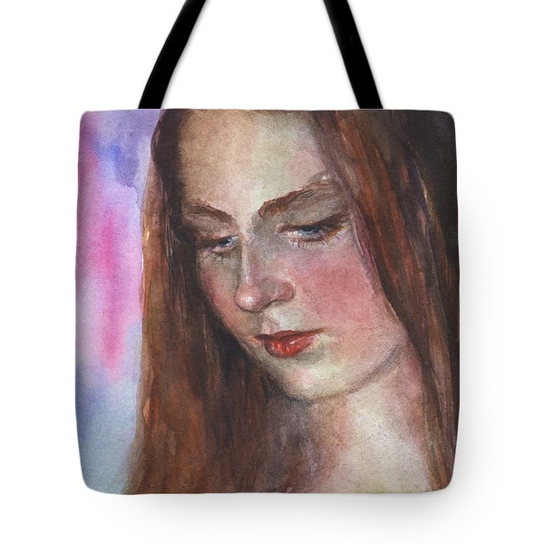 Young Woman Watercolor Portrait Painting Tote Bag by Svetlana Novikova