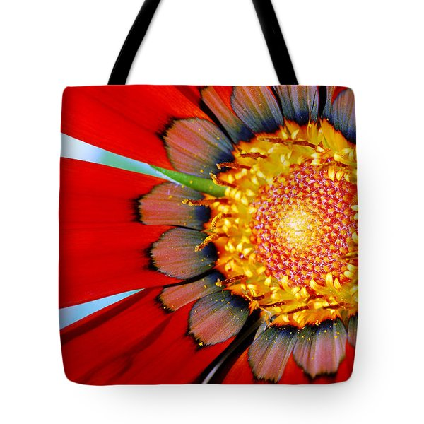 Tote Bag featuring the photograph Zinnia In Red by Wendy Wilton