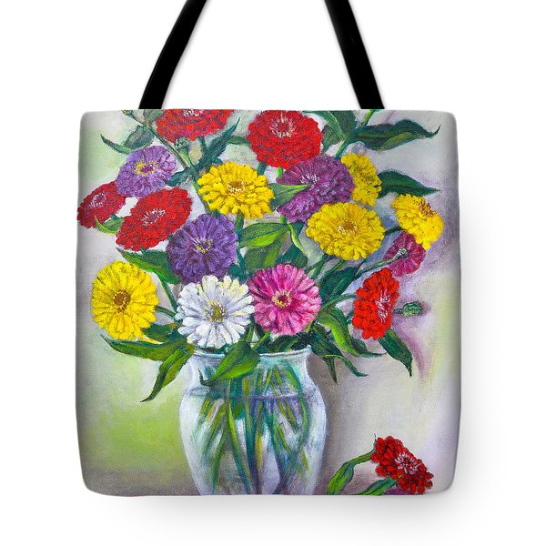Old Fashioned Zinnias Tote Bag