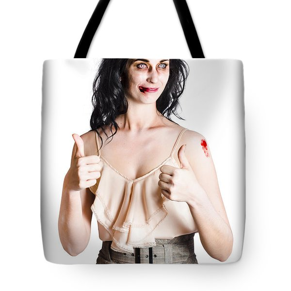 Zombie Woman With Thumbs Up Tote Bag