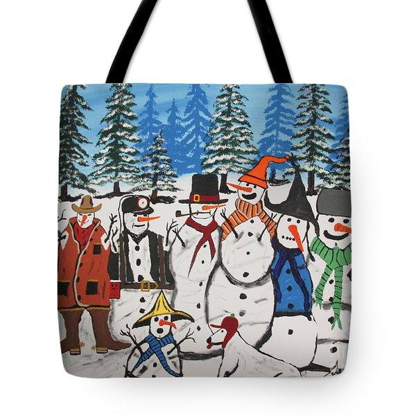 10 Christmas Snowmen  Tote Bag by Jeffrey Koss