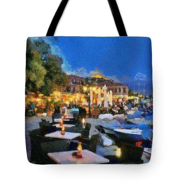 Molyvos Town In Lesvos Island Tote Bag by George Atsametakis