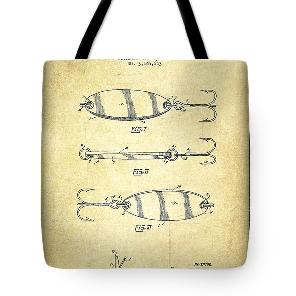 Vintage Fishing Lure Patent Drawing From 1964 Tote Bag