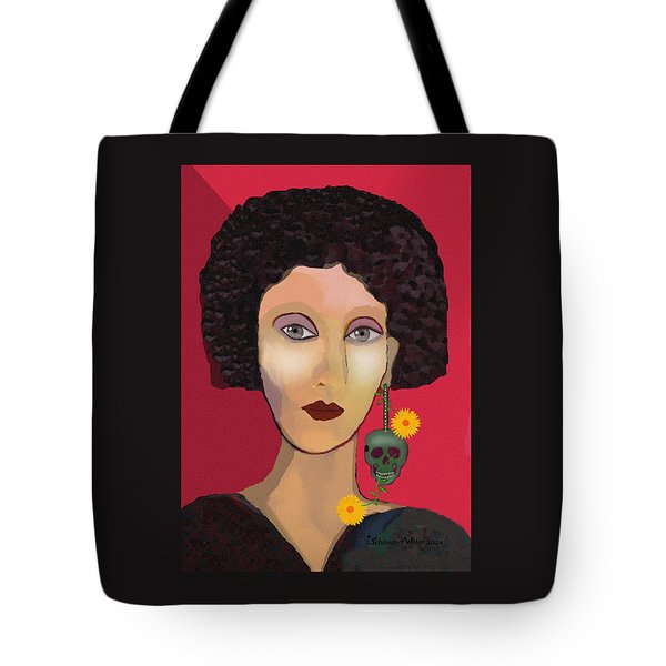 1110 - Lady With Ear Jewel Tote Bag by Irmgard Schoendorf Welch