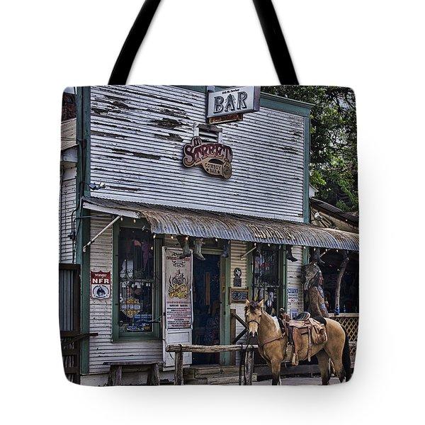 11th Street Cowboy Bar In Bandera Texas Tote Bag by Priscilla Burgers