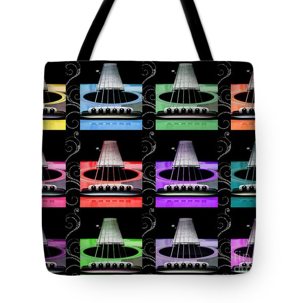 12 Color Guitars Tote Bag by Andee Design
