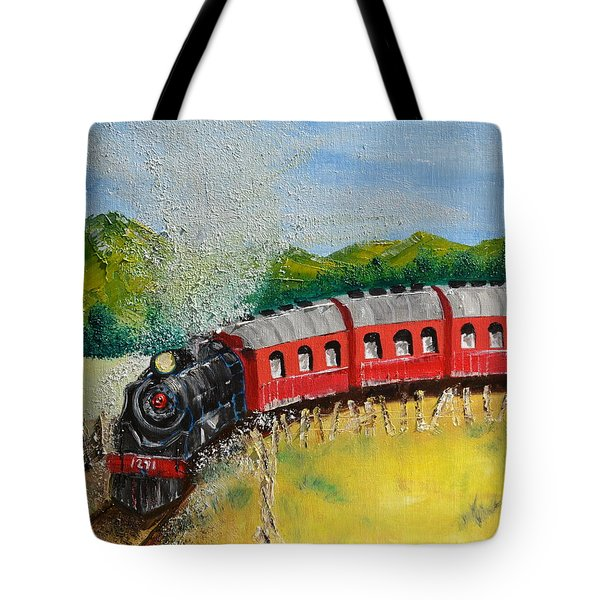 Tote Bag featuring the painting 1271 Steam Engine by Denise Tomasura