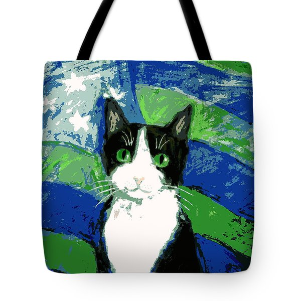 Cat With Stars And Stripes Tote Bag