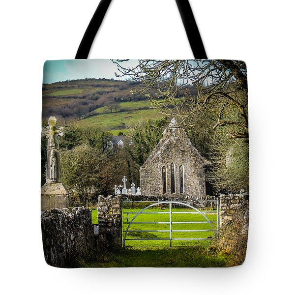 12th Century Cross And Church In Ireland Tote Bag