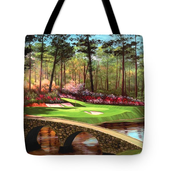 12th Hole At Augusta  Tote Bag by Tim Gilliland