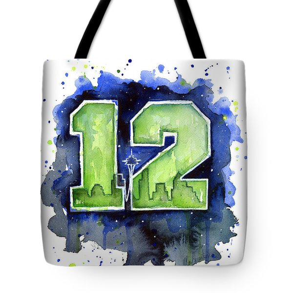 12th Man Seahawks Art Seattle Go Hawks Tote Bag by Olga Shvartsur
