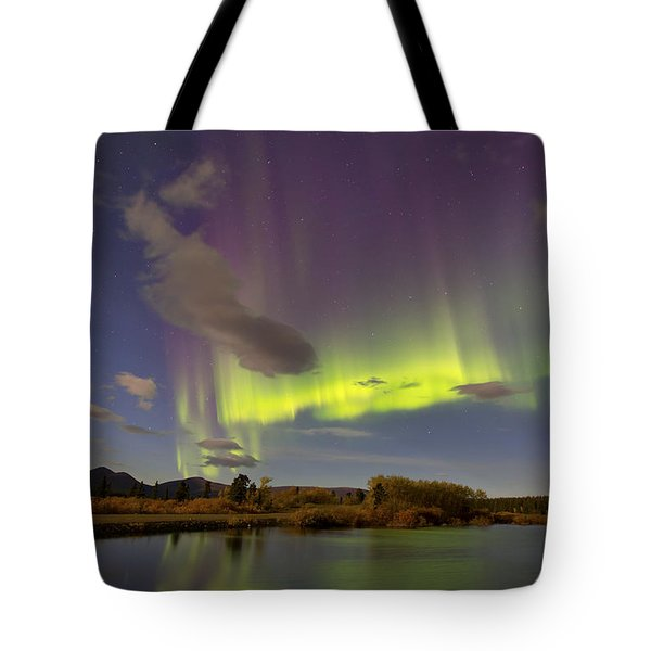 Aurora Borealis With Moonlight At Fish Tote Bag by Joseph Bradley