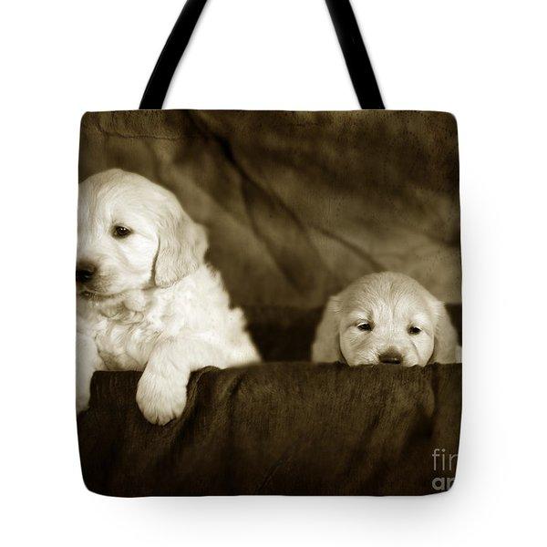 Vintage Festive Puppies Tote Bag by Angel  Tarantella