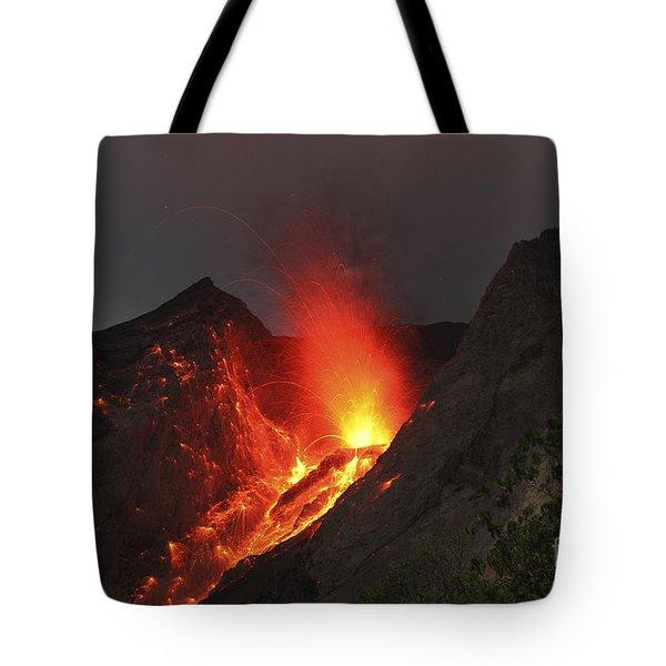 Strombolian Type Eruption Of Batu Tara Tote Bag by Richard Roscoe