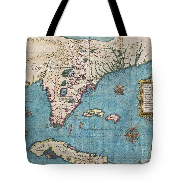 1591 De Bry And Le Moyne Map Of Florida And Cuba Tote Bag