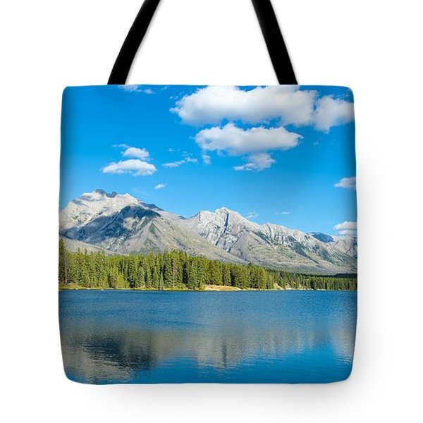 Lake With Mountains In The Background Tote Bag