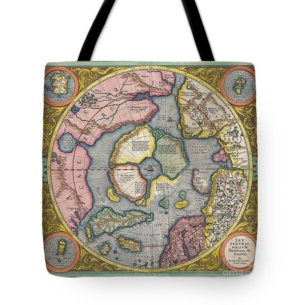1606 Mercator Hondius Map Of The Arctic Tote Bag by Paul Fearn